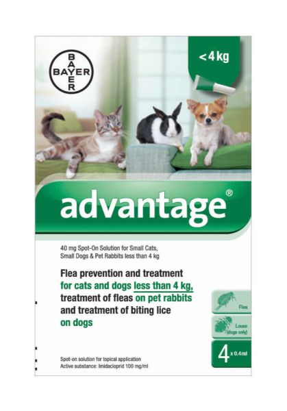 Picture of Bayer Advantage 40 Spot-On Solution 4 x 0.4ml Pipette 0-4kg