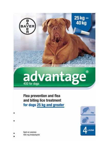 Picture of Bayer Advantage 400 Spot-On Solution Dogs 4 x 4ml Pipette 25kg Plus