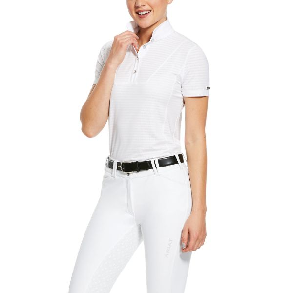Picture of Ariat Womens Lanni 1/4 Zip SS Show Shirt White