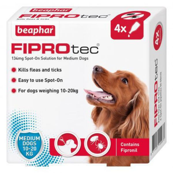 Picture of Beaphar Fiprotec Medium Dog Spot On 134mg 4 Pipettes