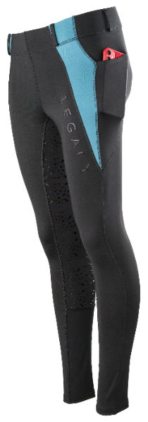 Picture of Legacy Ladies Riding Tights Black / Turquoise