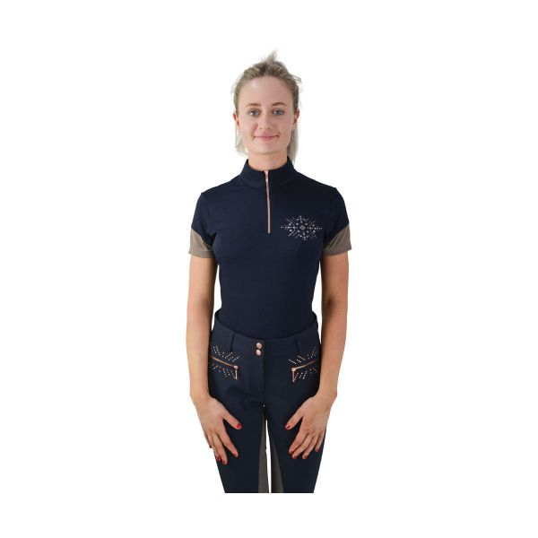 Picture of HyFashion Kensington Ladies Sports Shirt Navy/Taupe/Rose Gold