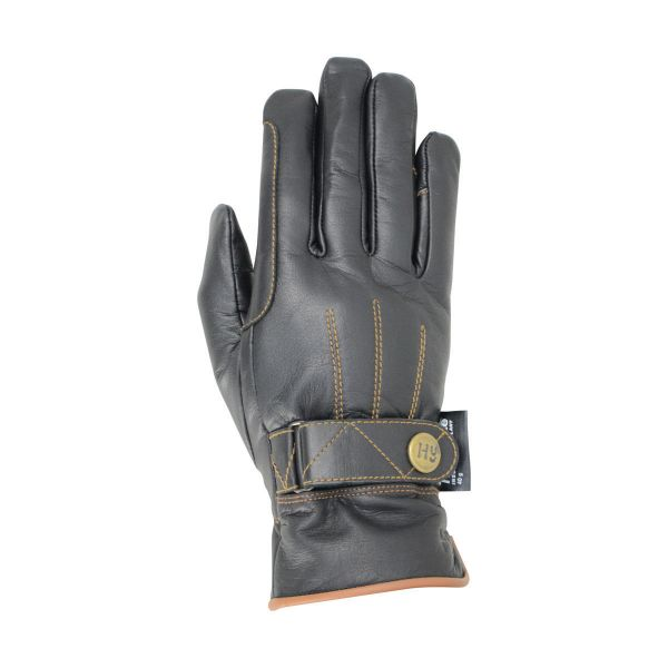 Picture of Hy5 Thinsulate Leather Winter Riding Glove Black / Tan Stitch