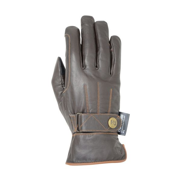 Picture of Hy5 Thinsulate Leather Winter Riding Glove Dark Brown / Tan Stitch