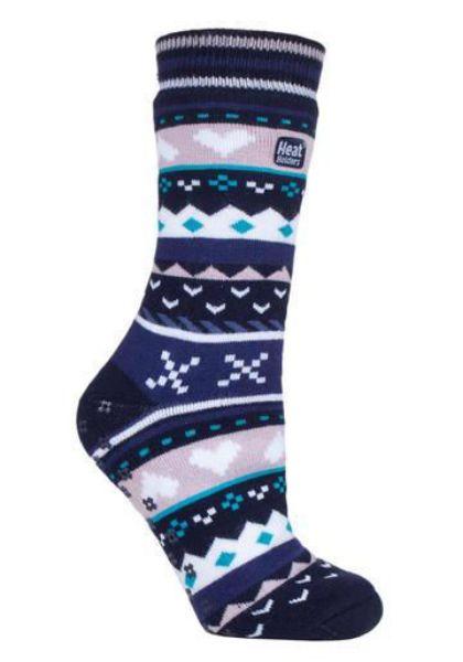 Picture of Heat Holders Ladies Soul Warming Socks Navy/Purple 4-8