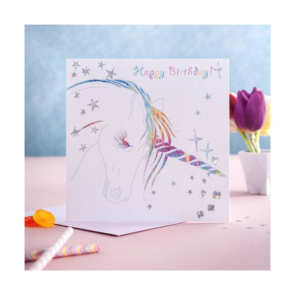 Picture of Deckled Edge Prancing Myth Card - Happy Birthday - Unicorn Head
