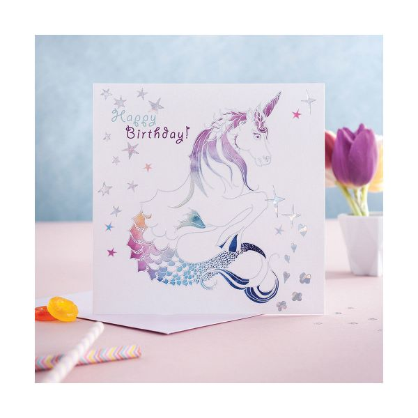 Picture of Deckled Edge Prancing Myth Card - Happy Birthday -Mythical Merhorse