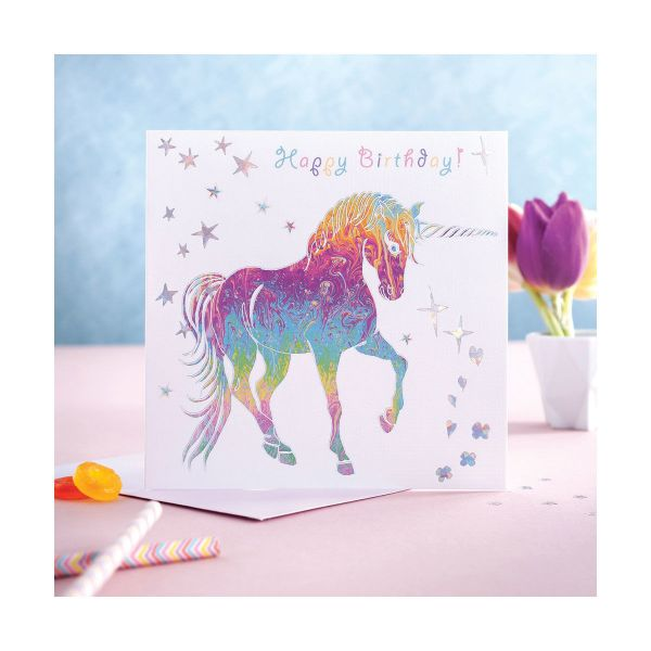 Picture of Deckled Edge Prancing Myth Card - Happy Birthday - Prancing Unicorn