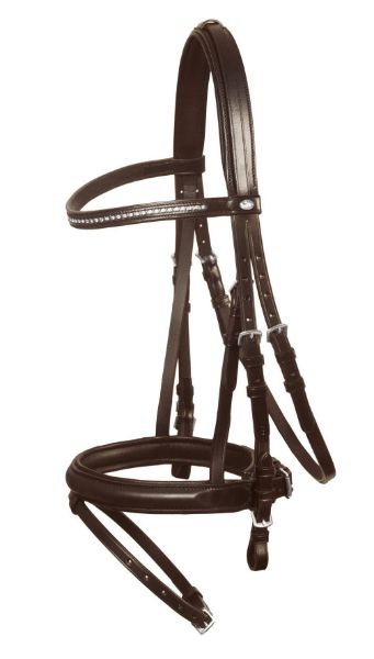 Picture of Schockemohle Hamburg Snaffle Bridle Brown/ Silver