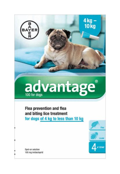 Picture of Advantage 100 Spot-On Solution Dogs 4 x 1.0ml Pipette 4-10kg