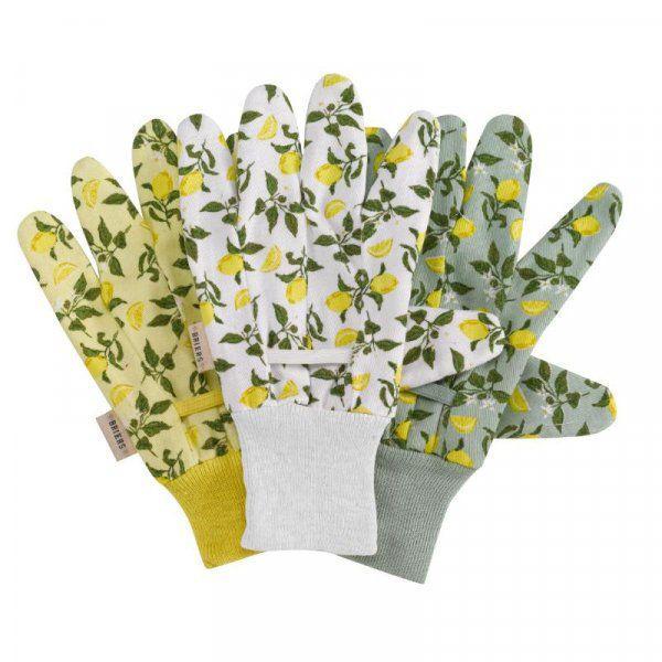 Picture of Smart Garden Briers Sicilian Lemon Cotton Grip Gloves Triple Pack