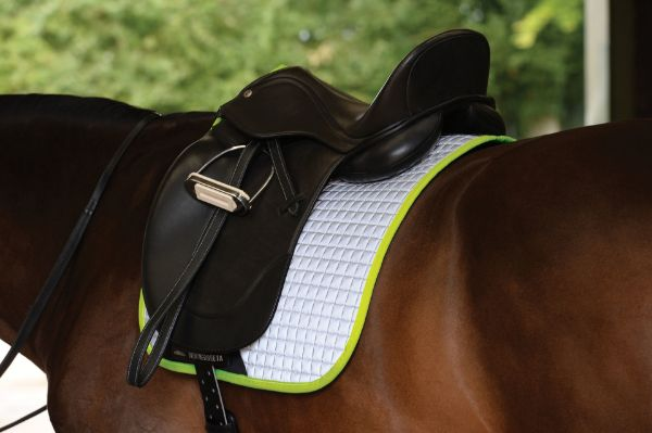 Picture of Weatherbeeta Reflective Prime Dressage Saddle Pad Silver/Yellow Full