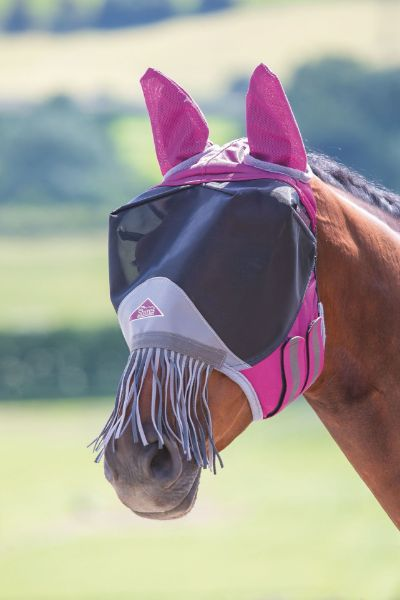 Picture of Shires Deluxe Fly Mask With Nose Fringe Burgundy