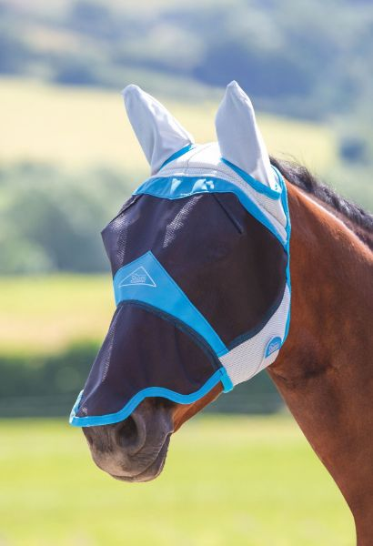 Picture of Shires Air Motion Fly Mask With Ears & Nose Blue