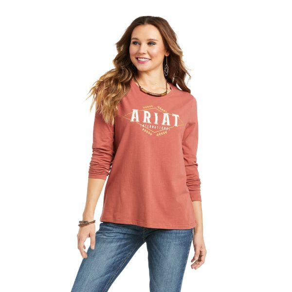 Picture of Ariat Womens Real Logo Flourish LS T-Shirt Marsala