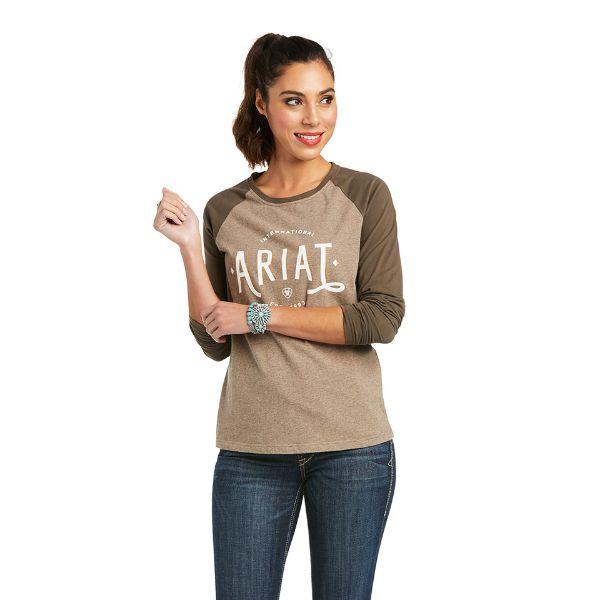 Picture of Ariat Womens Real Loop Baseball LS T-Shirt Banyan Bark