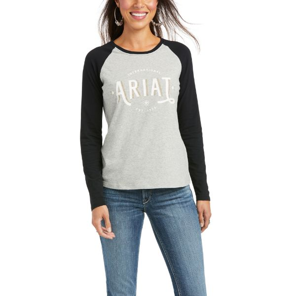 Picture of Ariat Womens Real Loop Baseball LS T-Shirt Heather Grey / Black