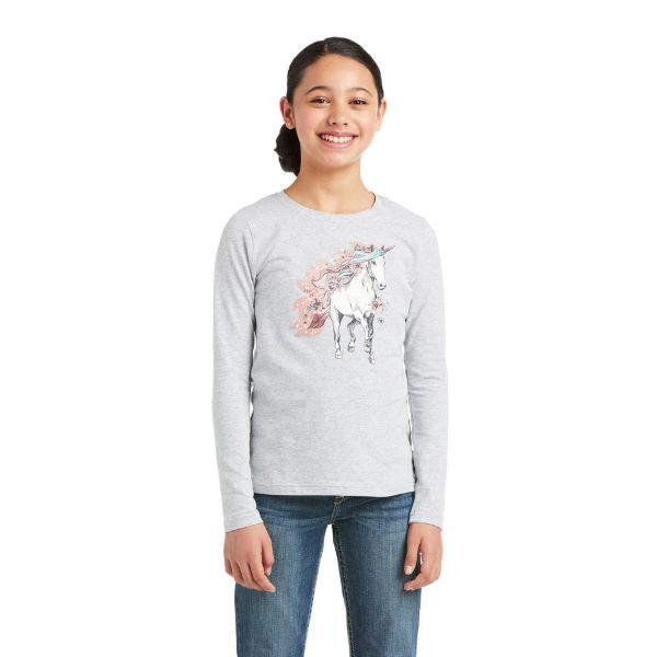Picture of Ariat Youth My Unicorns LS T-Shirt Heather Grey