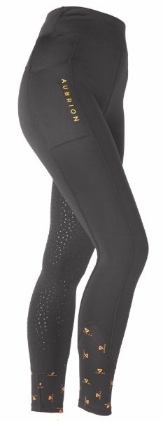 Picture of Aubrion Ladies Porter Winter Riding Tights Jet Black
